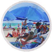 Sunday Beach Blues Round Beach Towel