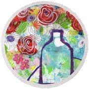 Sunday Market Flowers 2- Art By Linda Woods Round Beach Towel