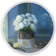 Sunday Morning And Roses - Blue Round Beach Towel