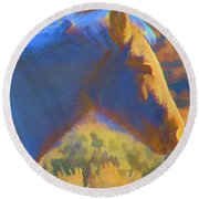 Sunday Morning At The Red Willows Round Beach Towel