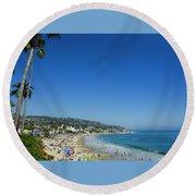 Sunday On Laguna Beach Round Beach Towel