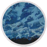 Sunday Sunrise Cumulus Floccus Round Beach Towel