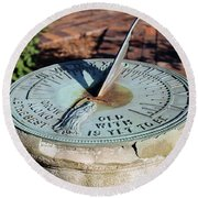 Sundial At Benjamin Harrison Home, Indianapolis, Indiana Round Beach Towel