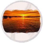 Sundown At Low Tide 2 Round Beach Towel