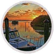 Sundown By H H Photography Of Florida Round Beach Towel