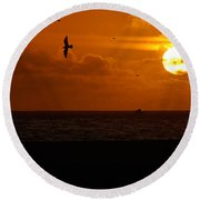 Sundown Flight Round Beach Towel