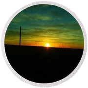 Sundown N The Fenceline Round Beach Towel
