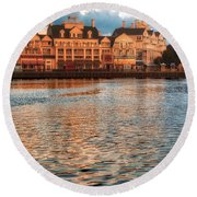 Sundown On The Boardwalk Walt Disney World Round Beach Towel
