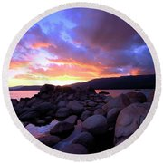 Sundown On The Rocks Round Beach Towel