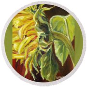 Sunflower - Over Easy Round Beach Towel