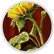 Sunflower - Sunny Side Up Round Beach Towel