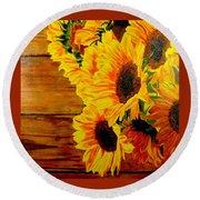 Sunflower 1 Round Beach Towel