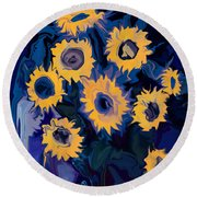 Sunflower 1 Round Beach Towel
