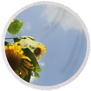 Sunflower 3 Round Beach Towel