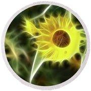 Sunflower-5030-fractal Round Beach Towel