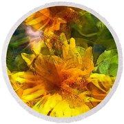 Sunflower 6 Round Beach Towel