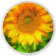 Sunflower 8 Round Beach Towel