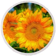 Sunflower 9 Round Beach Towel