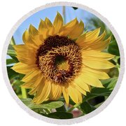 Sunflower And Bee Round Beach Towel