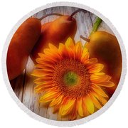 Sunflower And Pears Round Beach Towel
