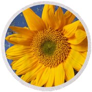 Sunflower And Skeleton Key Round Beach Towel by Garry Gay