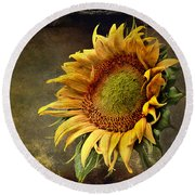 Sunflower Art 2 Round Beach Towel