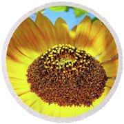 Sunflower Art Prints Orange Yellow Floral Garden Baslee Troutman Round Beach Towel