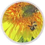 Sunflower Bees Round Beach Towel