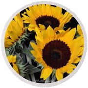 Sunflower Bouquet Round Beach Towel