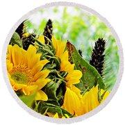 Sunflower Bouquet 2 Round Beach Towel