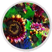 Sunflower Carnival Round Beach Towel