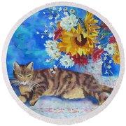 Sunflower Cat Round Beach Towel