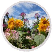 Sunflower Day Round Beach Towel