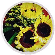 Sunflower Decor 3 Round Beach Towel