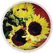 Sunflower Decor 3 Round Beach Towel