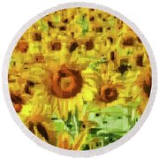 Sunflower Edges Round Beach Towel