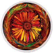 Sunflower Emblem Round Beach Towel