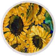 Sunflower Faces Round Beach Towel