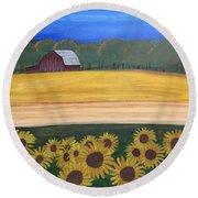Sunflower Fields Round Beach Towel