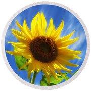 Sunflower Glow Round Beach Towel