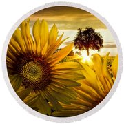 Sunflower Heaven Round Beach Towel
