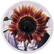 Sunflower In A Cup Round Beach Towel