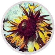 Sunflower In Deep Tones Round Beach Towel