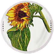Sunflower In Gouache Round Beach Towel