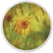 Sunflower In The Wind Painting Round Beach Towel