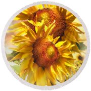 Sunflower Light Round Beach Towel