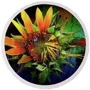 Sunflower Magic Round Beach Towel