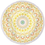 Sunflower Mandala- Abstract Art By Linda Woods Round Beach Towel