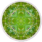 Sunflower Mandala Round Beach Towel
