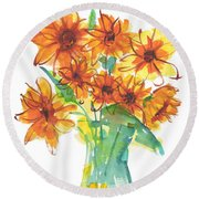 Sunflower Medley II Watercolor Painting By Kmcelwaine Round Beach Towel
